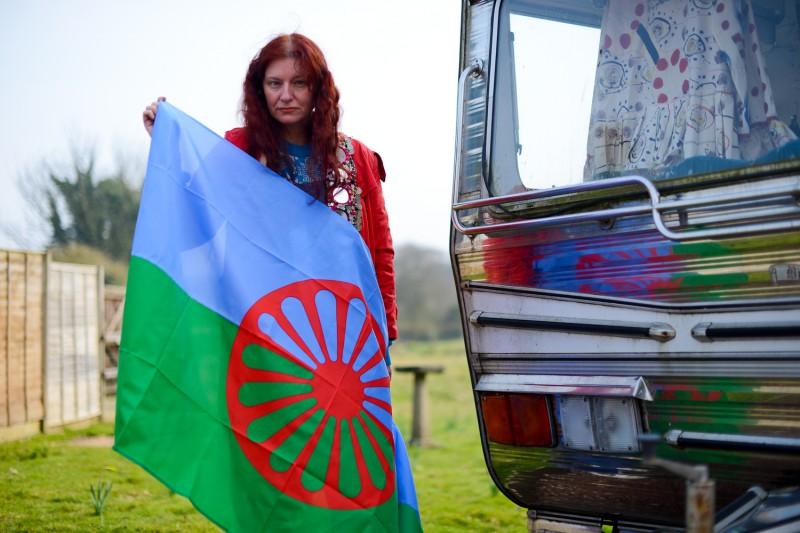 Romany Flag Portrait of Delaine Le Bas by Amelia Shepherd