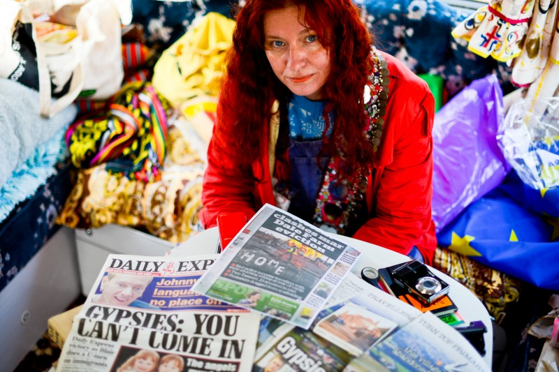 Portrait of Delaine Le Bas With 'Anti-Gypsy' Press Cuttings